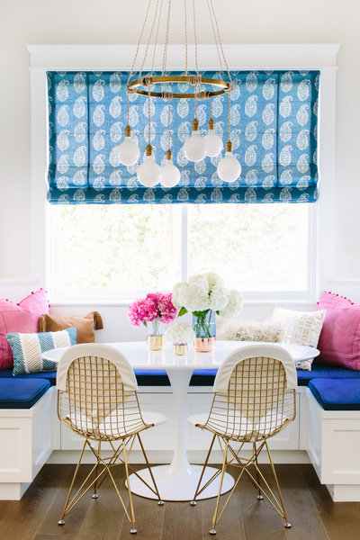 Pink, blue, and gold breakfast nook | Los Angeles Interior Design