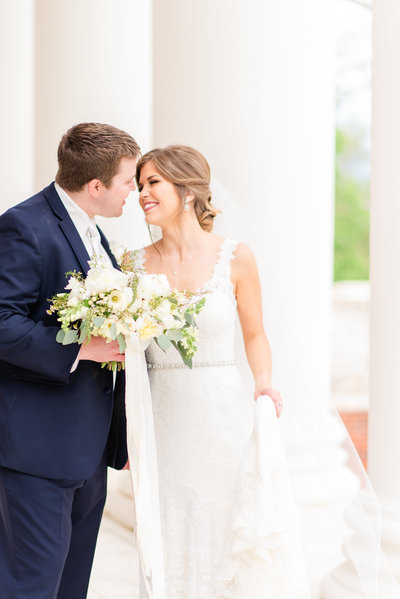Bride and groom hugging at their University of Virginia Wedding