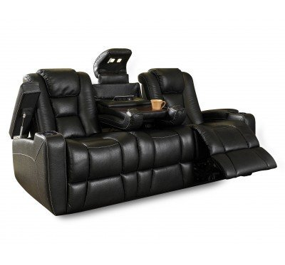 RO8040-43H Evolution Sofa in 121F Black Leatheraire Fabric  w Drop Down ...