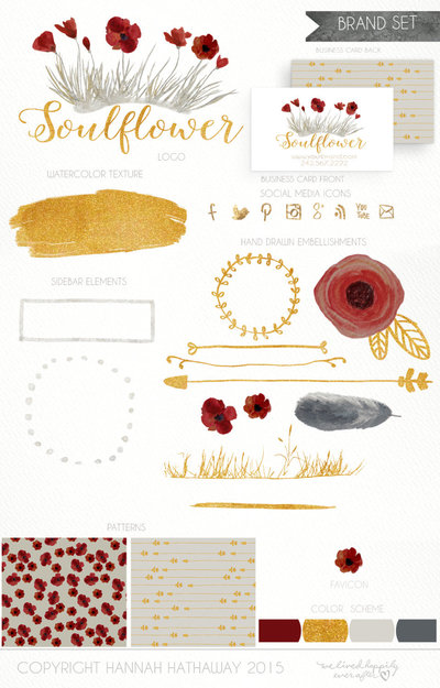 Flower_Premade_Logo_-_Watercolor_Logo_Brand_Set_-_Gold_Logo_-_Floral_Logo_-_Premade_Red_Poppy_logo_--266632425-_4