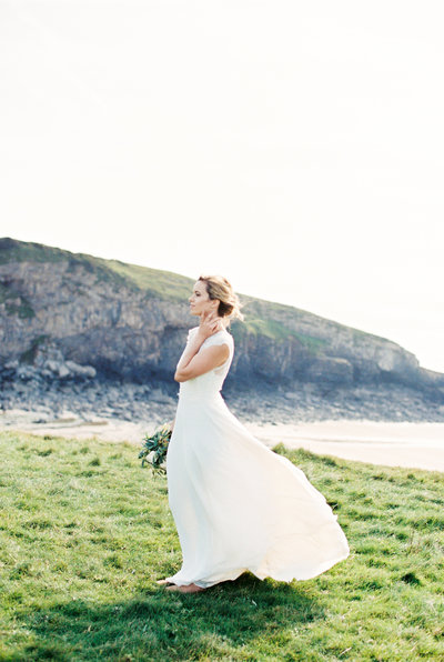 Bridal portrait on the coast