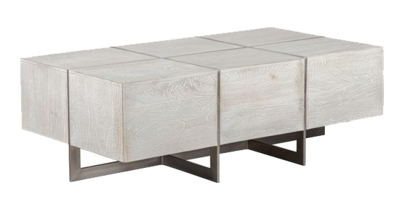 Whitewashed wood coffee table at Hockman Interiors