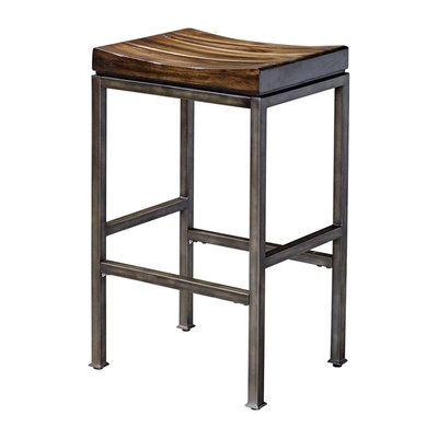 Backless dining stool with downward arching wood seat and metal frame from Hockman Interiors