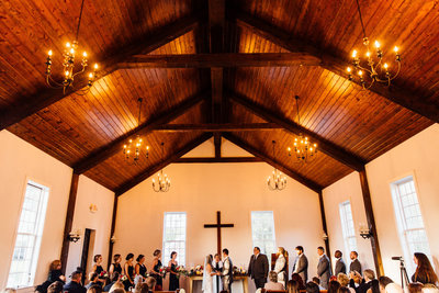 Wedding ceremony in charming chapel in Arrington, TN