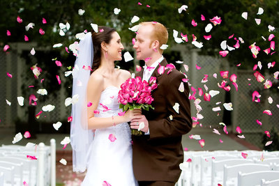 Flower Petals Wedding Couple