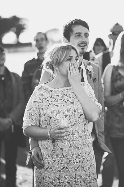 Emotional Bride crying at wedding in Norfolk. Festical wedding covered by Jessica Elisze Phtoography