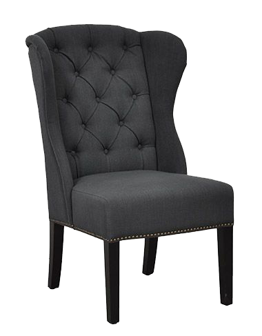 Highly detailed dining chair with upholstered fabric and studded embellishments from Hockman Interiors