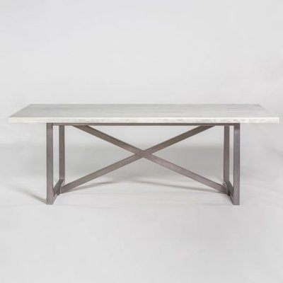 White coffee table with metal legs from Hockman Interiors