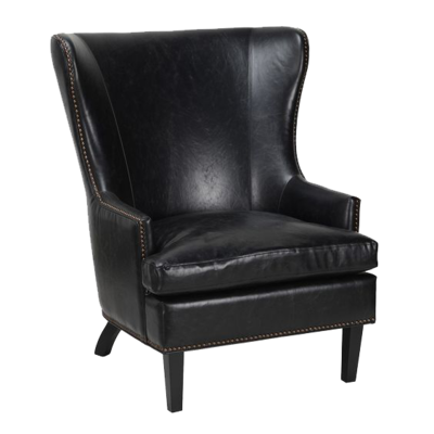 Black, leather club chair from Hockman Interiors