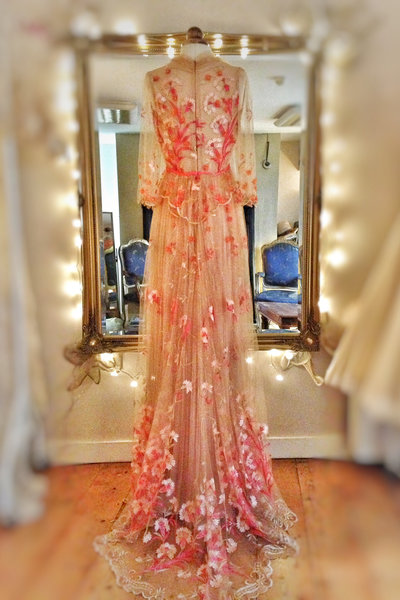Floral_embroidered_tulle_coral_pink_nude_wedding_dress (3)