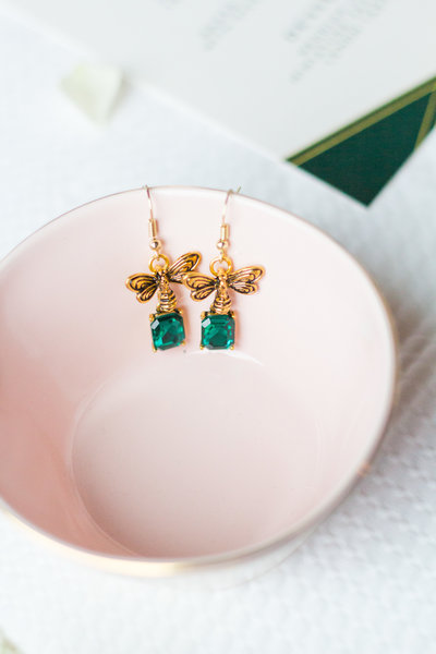 Blush pink bowl, bee earrings with emeralds