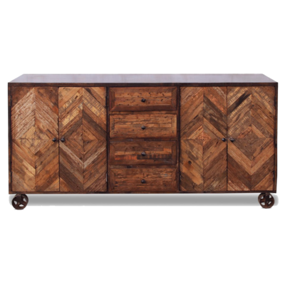 Hockman Interiors console with mahogany wood patterns and drawers