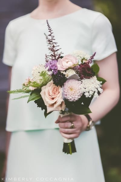 Summer wedding bridesmaid bouquet with dahlias at Liberty View Farm in the Hudson Valley. Hudson Valley wedding florist.