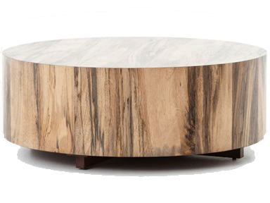 Circular coffee table made with multi colored wood at Hockman Interiors