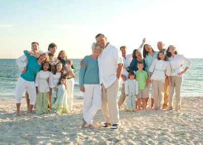 Extended family portrait on Cape San Blas beach