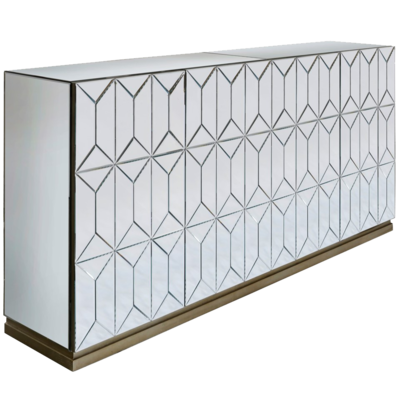 Light colored console with geometric design from Hockman Interiors