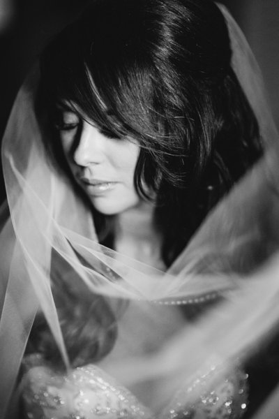 dramatic portrait of bride posing with veil