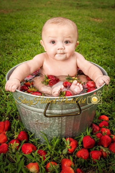 baby in strawberry bath