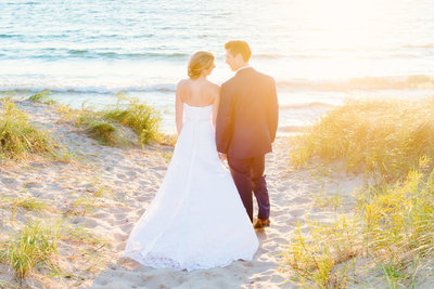 outdoor summer beach wedding photography in northern michigan