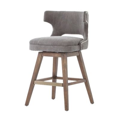 Grey leather dining stool with studded backrest and wooden legs from Hockman Interiors