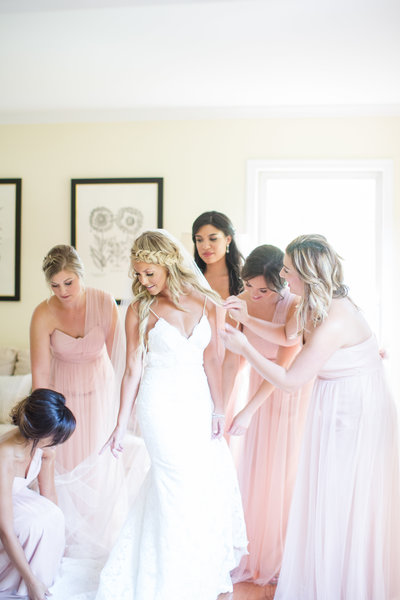 southern bridesmaids pink dresses