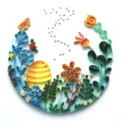 meloney-celliers-whimsical-quilled-illustrations-bees-strictlypaper