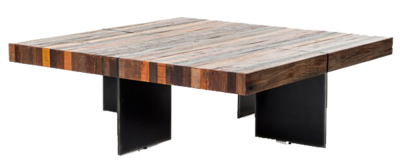 Square coffee table with multi colored wood at Hockman Interiors