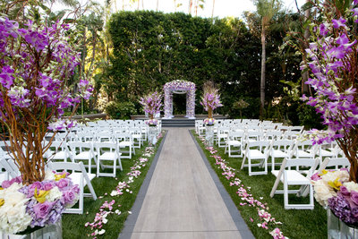 ceremony location at the Four Seasons Beverly Hills wedding photo by Gilmore Studios
