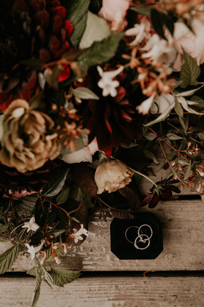 Moody PNW Beach Elopement Intimate Wedding Burgundy Bridal Bouquet