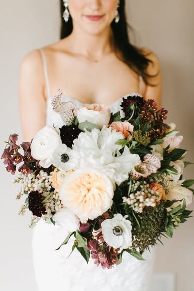 Spring Bridal Bouquet at the Roundhouse in Beacon, New York. Hudson Valley wedding florist