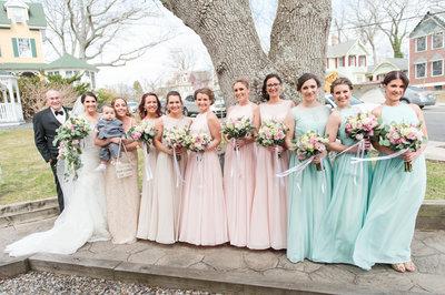 Spring wedding with multicolored dresses-48