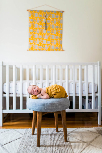 newborn posed at home lifestyle session in Boston