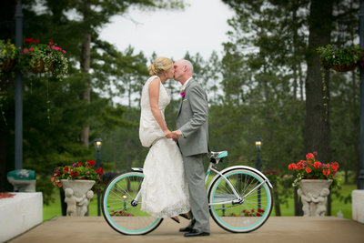 this is a photograph of a bride and groom at a midwest outdoor wedding