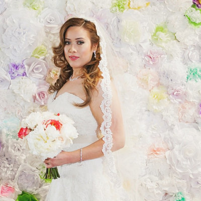 Bridal portrait with cathedral veil