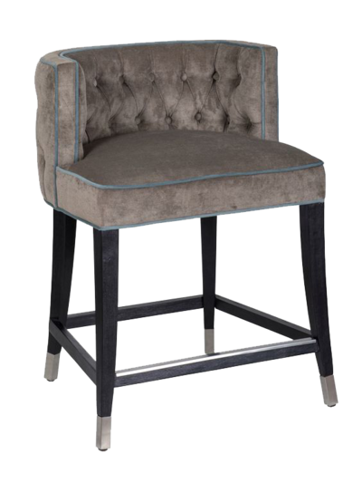 Platinum colored dining stool with light blue trim and dark wood legs from Hockman Interiors