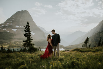Glacier National Park MT Hidden Lake Engagement Couple Holding Hands