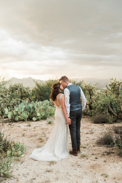 Case Park Desert Wedding Bride and Groom Kissing