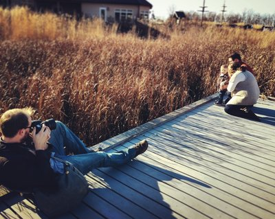 Photographer, prone, family session, autumn, Chicago.