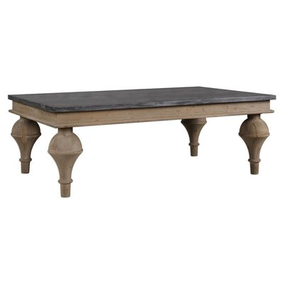 Traditional wooden coffee table with four legs and multi-toned wood from Hockman Interiors