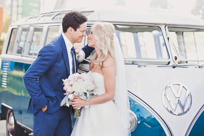 Bride and groom portrait with VW Bus in Orange County, CA