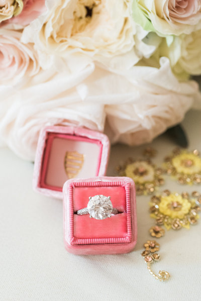 Spring pink and white bridal bouquet with ring and mrs box photo