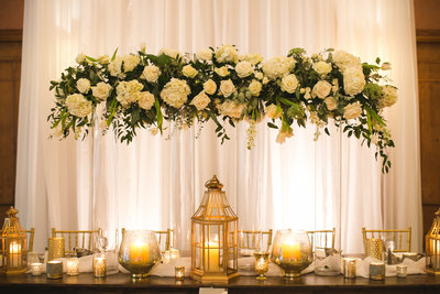 estate table tall white florals