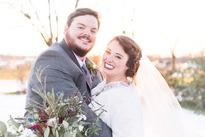 Snow Wedding in Alabama - Bride and Groom - Golden Hour