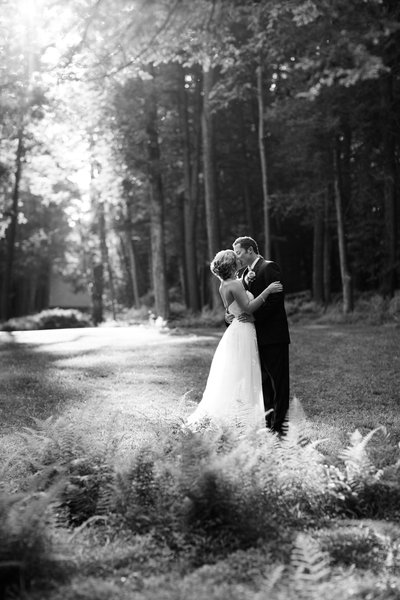 B&W of bride and groom at C Barton McCann School of Art