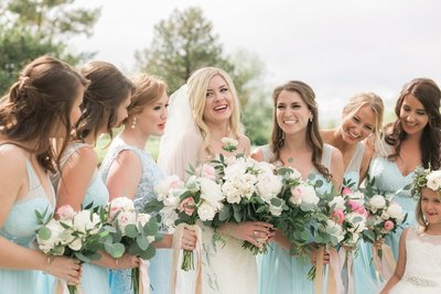 Real Denver Wedding Wellshire Event Center Blue Pink Flower Crown Cathedral Veil (23)