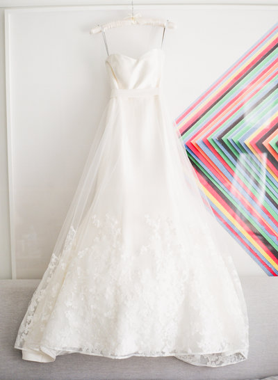 bride's dress with modern art