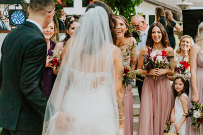 Beautiful moments between bride and bridesmaids