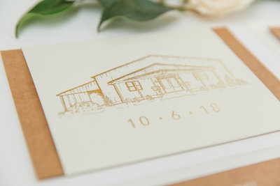 Custom details in gold ink for wedding invitations