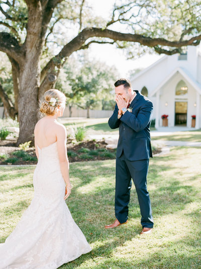 Groom sees his bride for the first time in her dress. He's crying with joy! It's the absolute sweetest reaction.