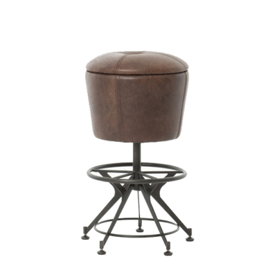 Swivel dining stool with metal base and brown leather seat from Hockman Interiors